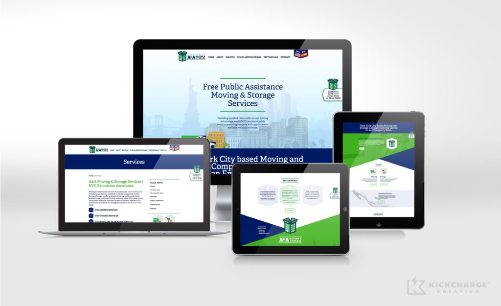 Responsive website design and development for A&A Moving & Storage.