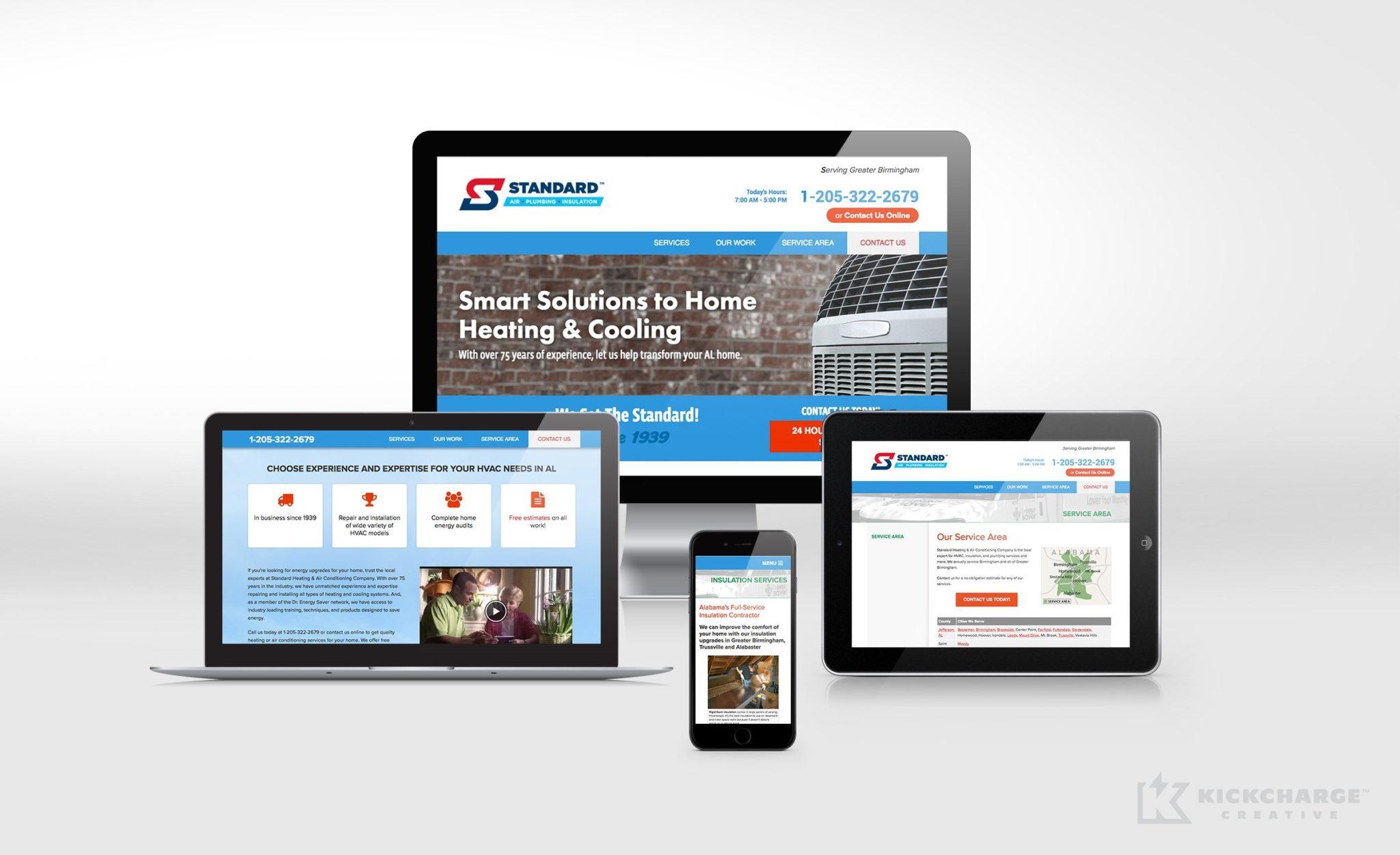 Website design for Standard Air, Plumbing & Insulation.