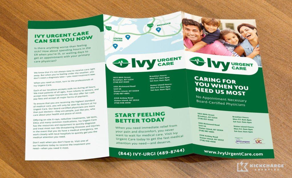 Brochure design for Ivy Urgent Care.