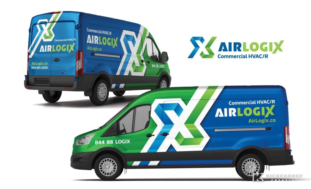 Vehicle wrap design for AirLogix, a commercial HVAC/R company in Astoria, NY.