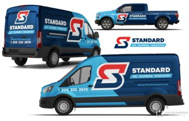 Vehicle wrap design for Standard Air, Plumbing & Insulation, located in Birmingham, AL.