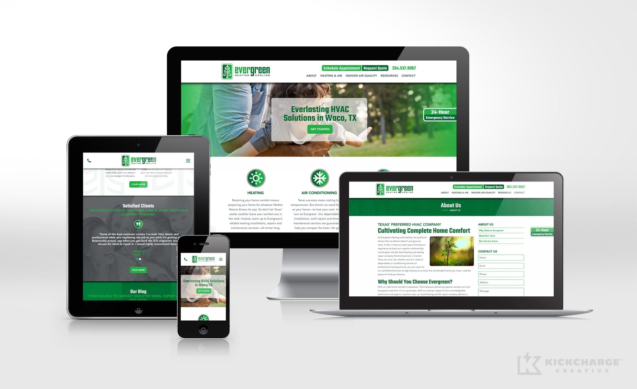 Website design for this Waco, TX-based HVAC company.