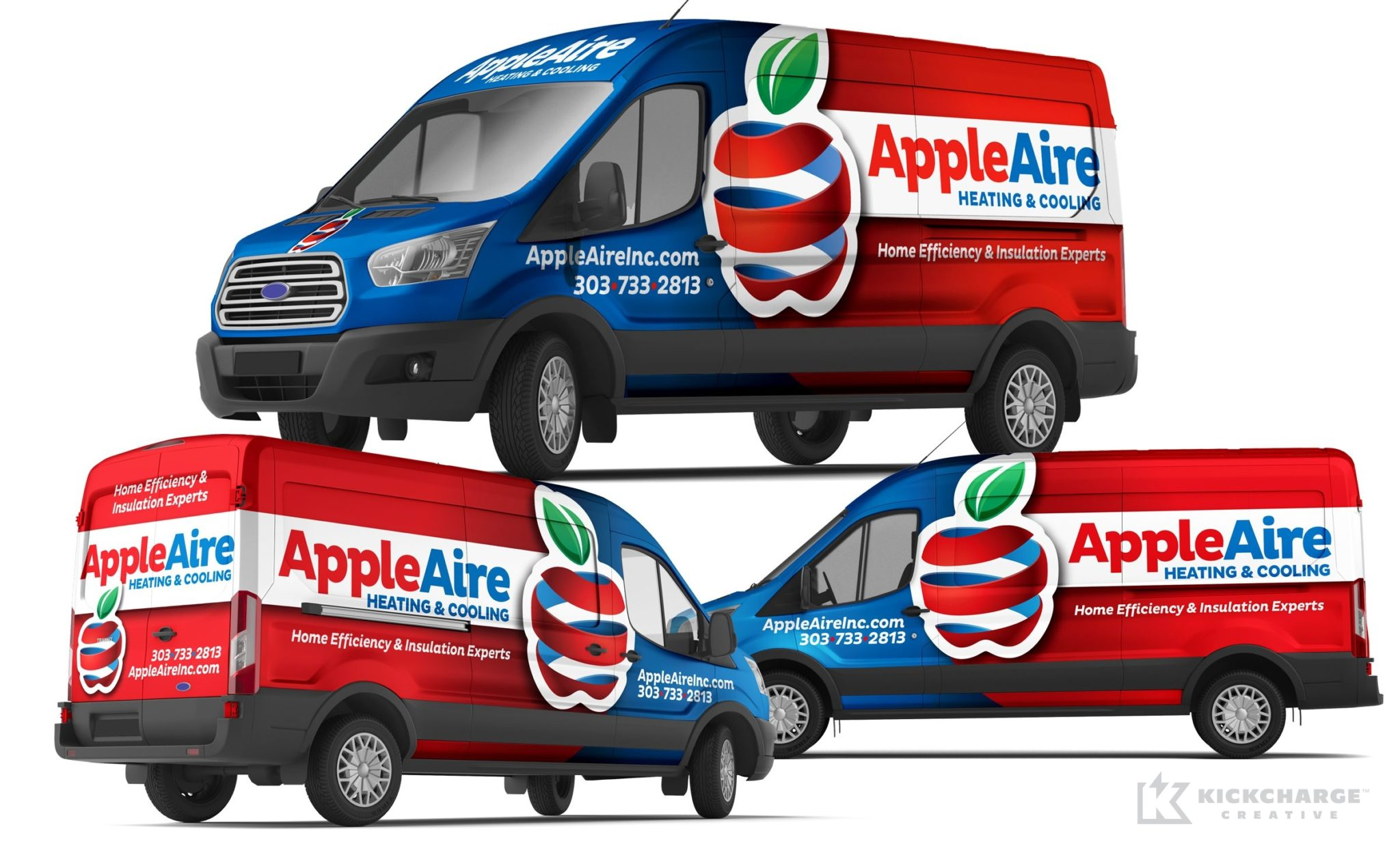 Vehicle wrap design for AppleAire Heating & Cooling.