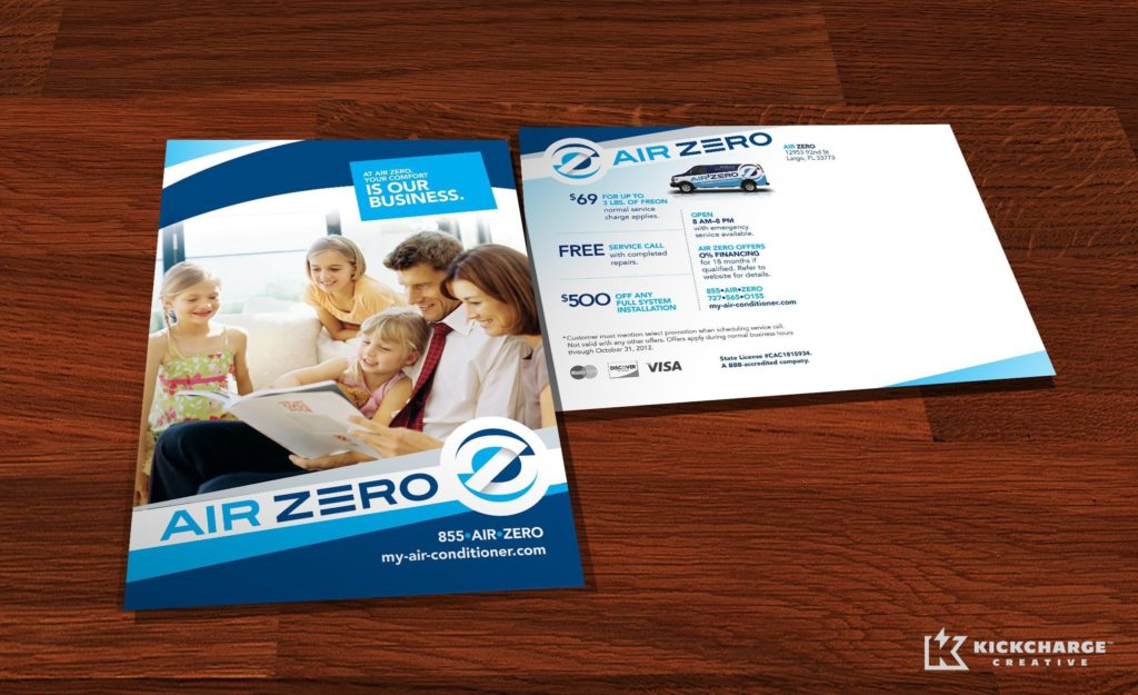 Direct mail postcard copywriting, design and printing for Air Zero.
