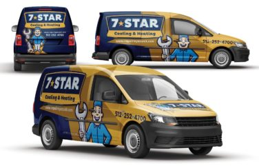 Vehicle wrap design for 7-Star Cooling & Heating.