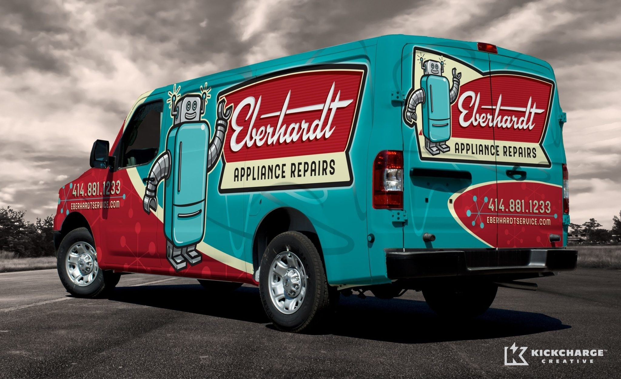 Vehicle wrap design for Eberhardt Appliance Repairs.