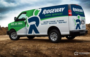 Vehicle wrap design for Ridgeway Home Services located in IL. The best vehicle wraps use simple, eye-catching graphics that are easy to read, as this wrap for Ridgeway shows.