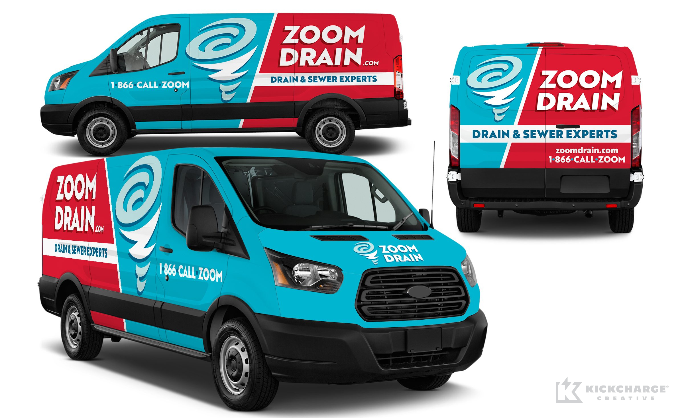 Vehicle wrap design for Zoom Drain.