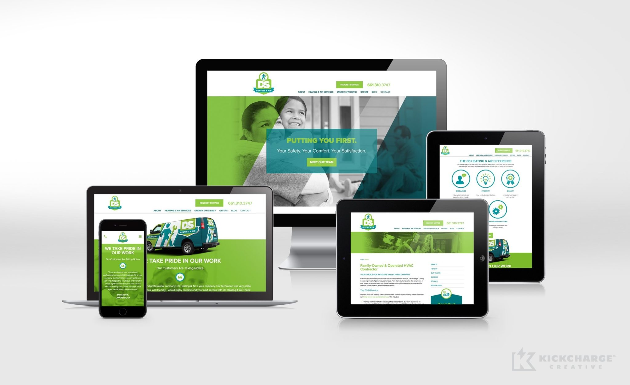 Website design and development for DS Heating & Air, a California-based HVAC company.