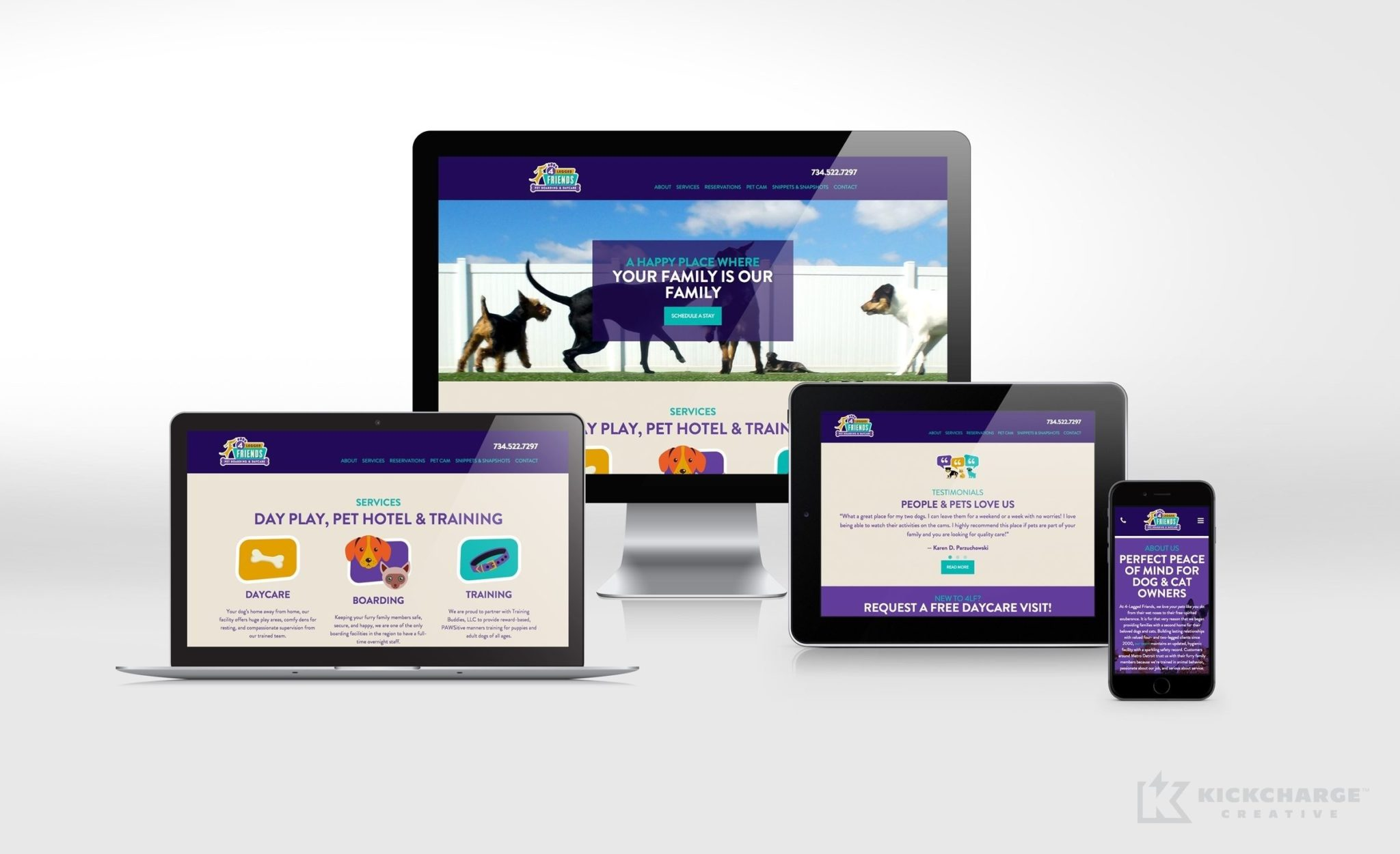 Website design and development for this Livonia, MI-based pet boarding & daycare facility.