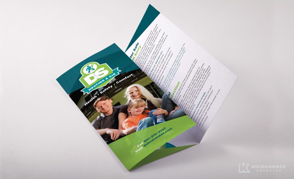 Brochure cover design for this Lancaster, CA-based HVAC company.