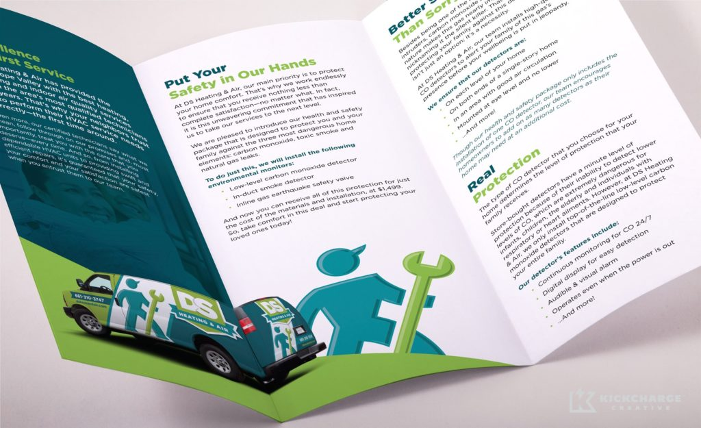 Brochure inside spread design for this Lancaster, CA-based HVAC company.