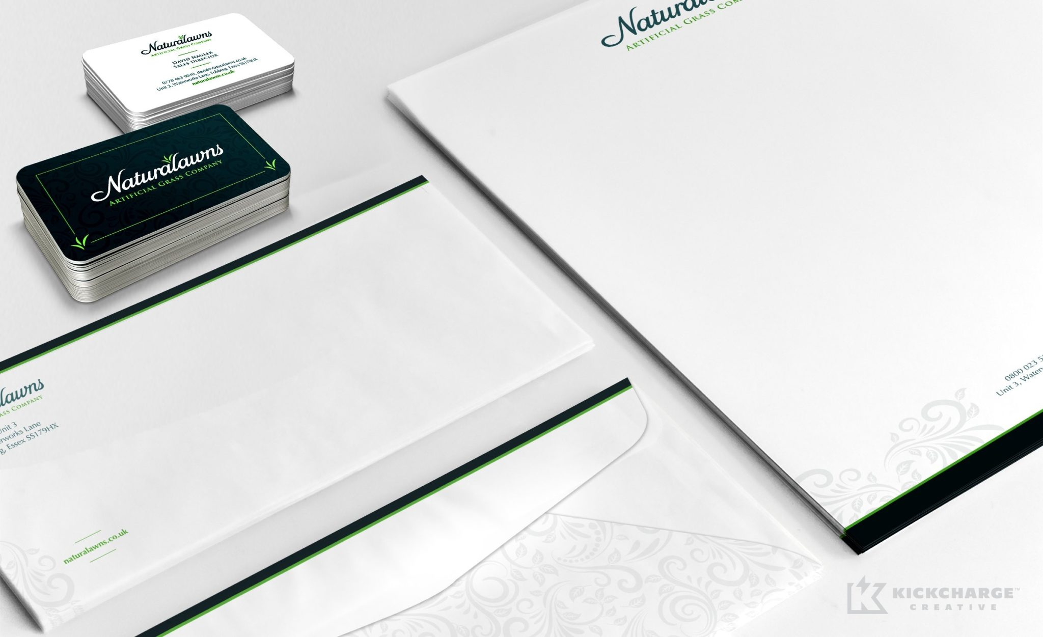 Stationery design for Naturalawns, an artificial grass company located in England.