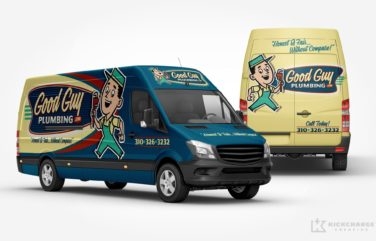 Vehicle wrap design for Good Guy Plumbing, a California-based plumbing company.
