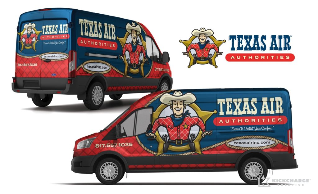 Vehicle wrap design for this Arlington, TX-based HVAC company.