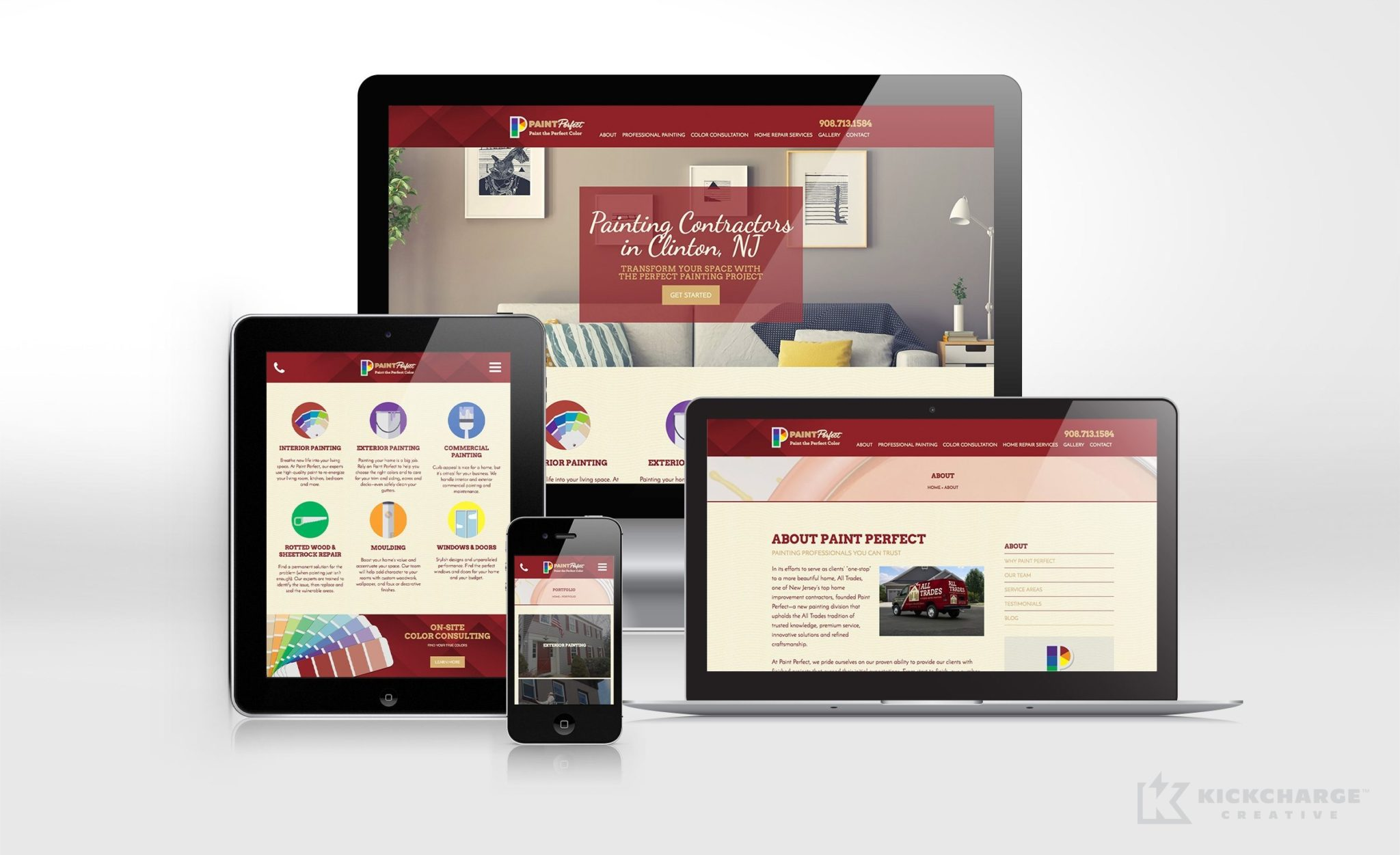 Website design for Paint Perfect.