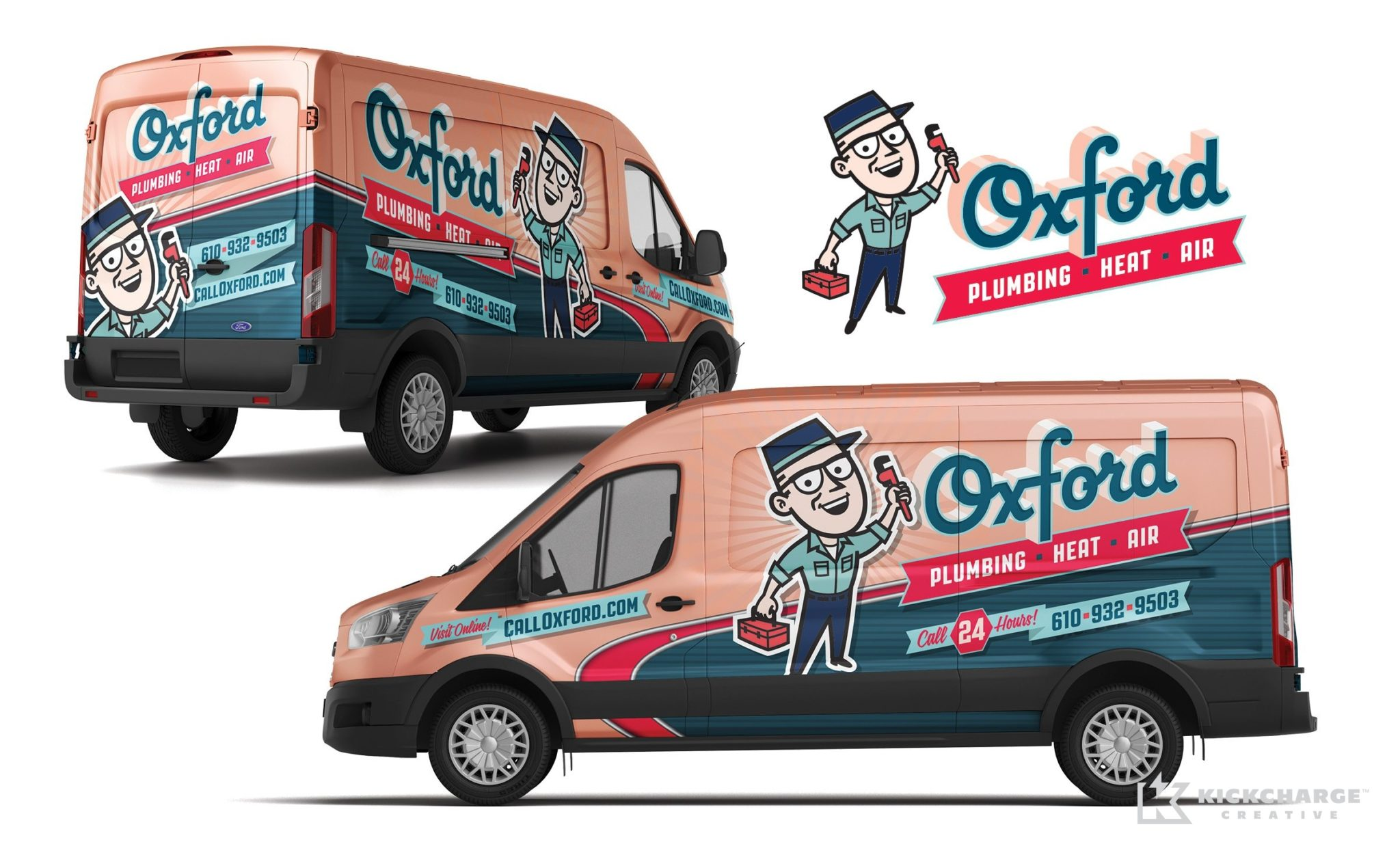 Vehicle wrap design for Oxford Plumbing, Heat & Air.