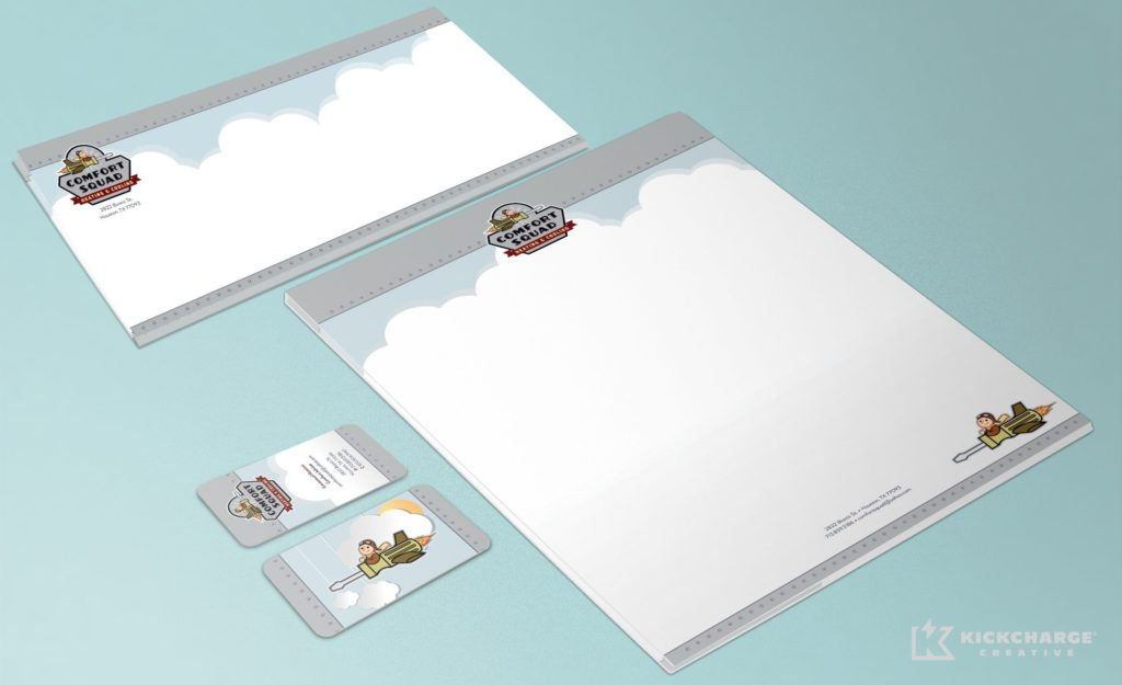 Stationery Design for Comfort Squad Heating & Cooling, an HVAC company in Texas.