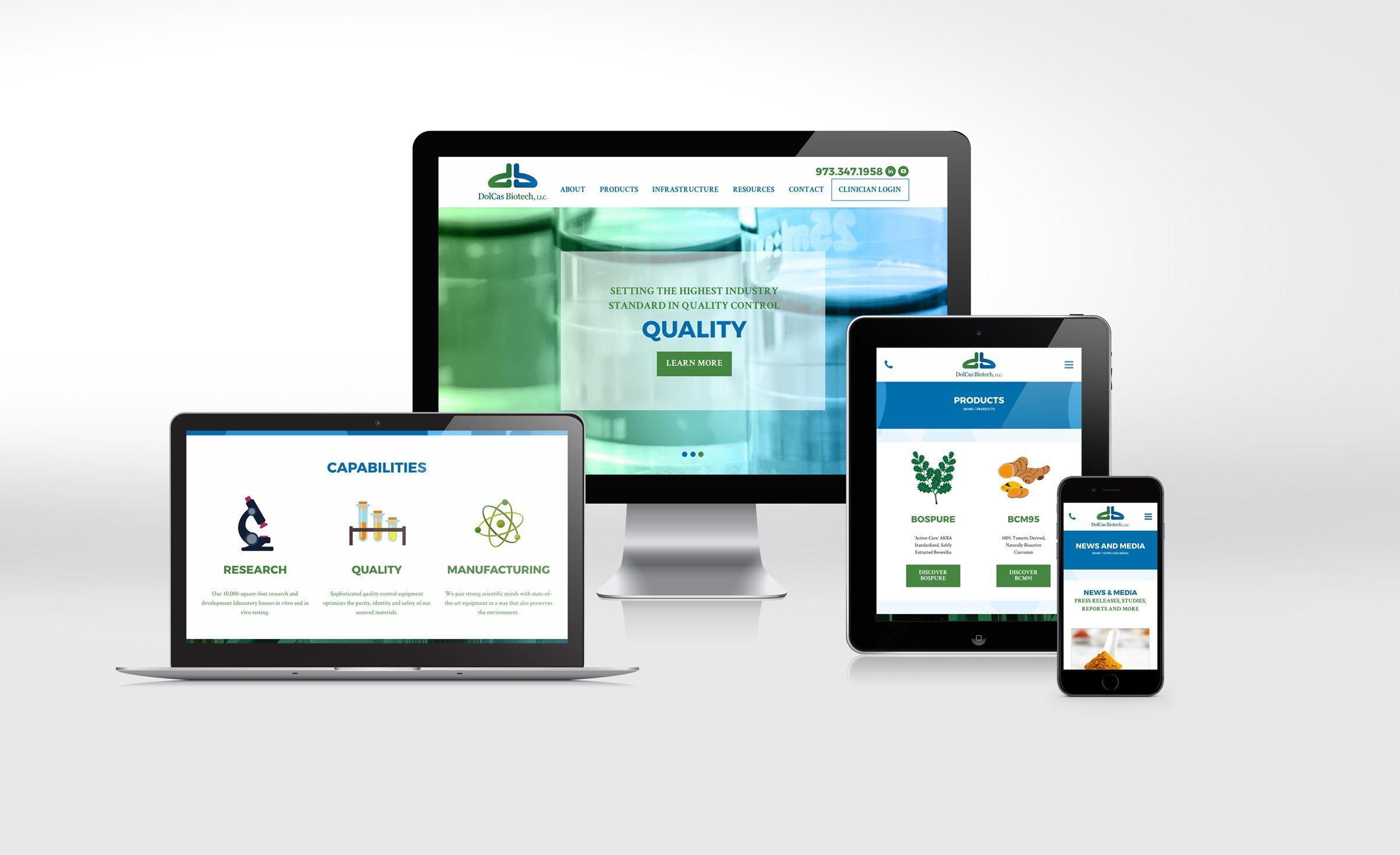 Website design for DolCas Biotech.