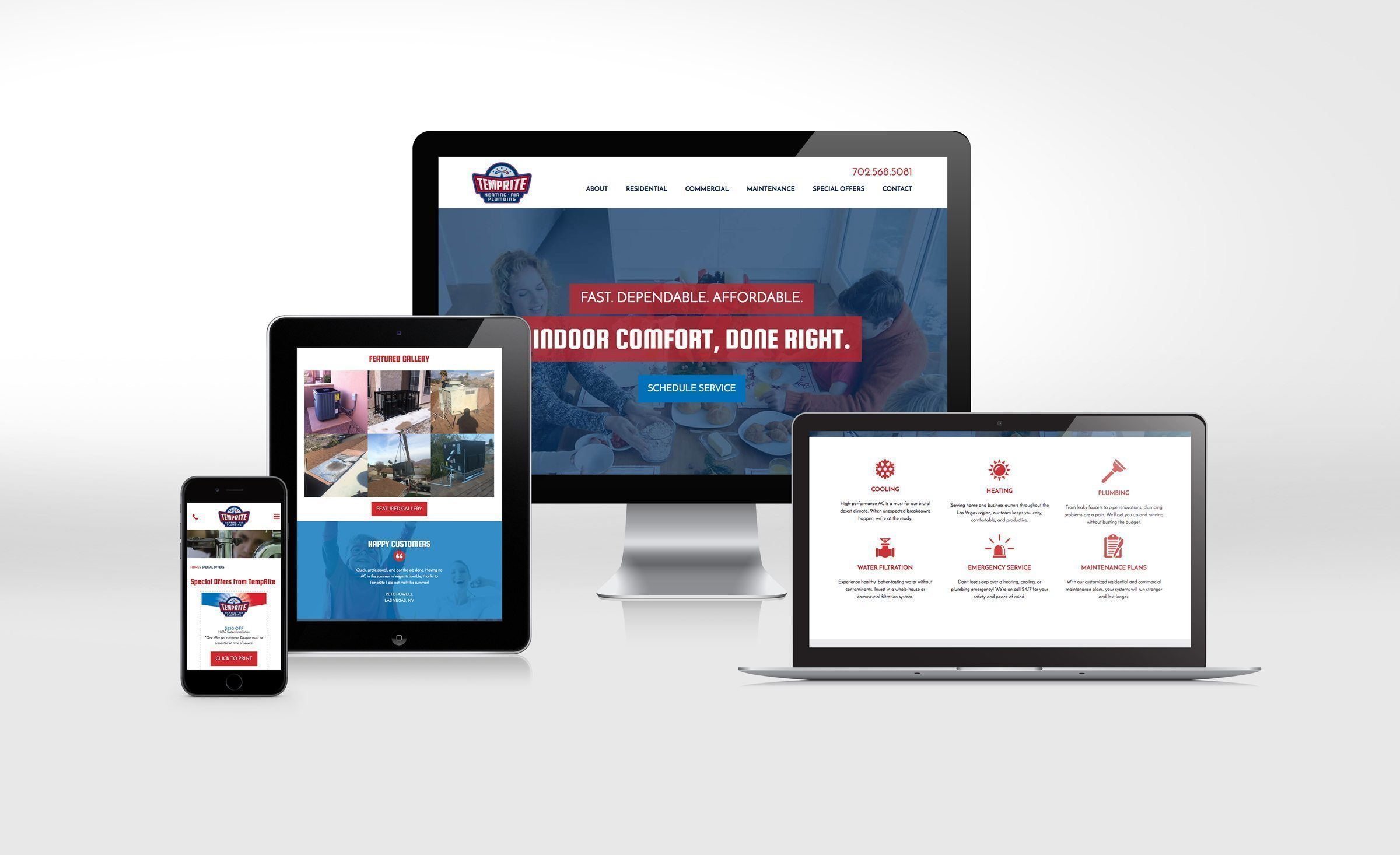 Website design for a heating and air conditioning contractor in Las Vegas.