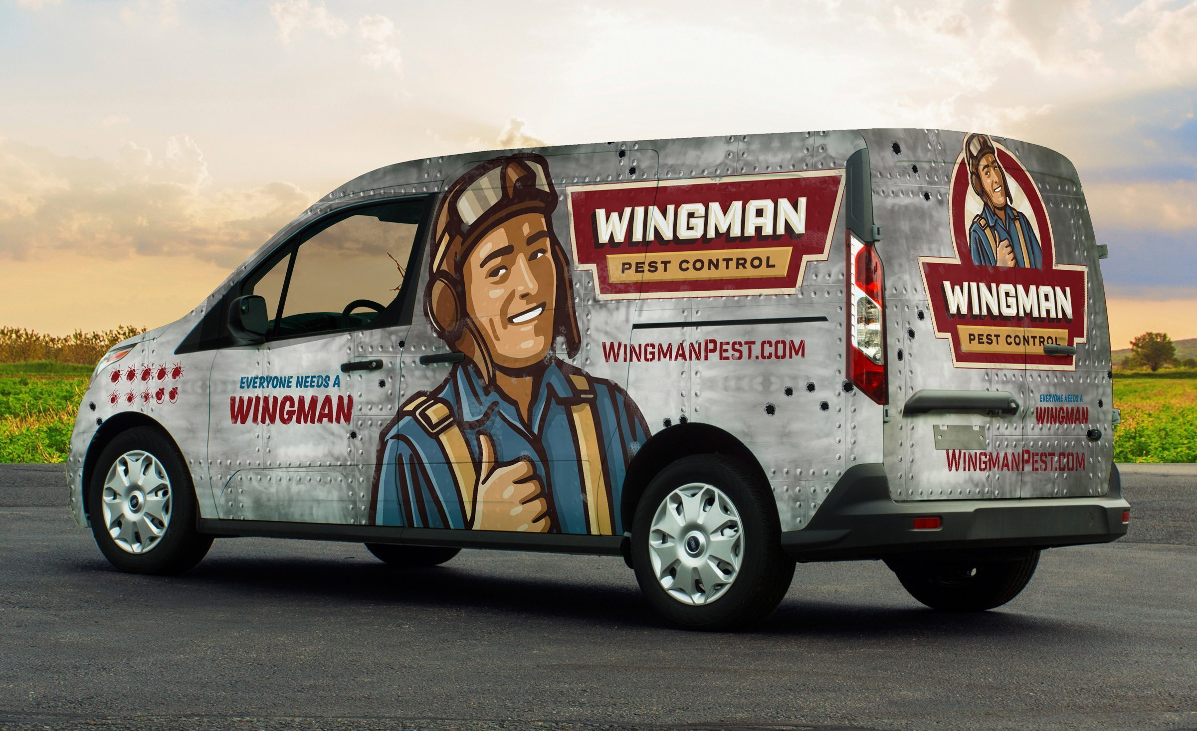 Vehicle wrap design for this Michigan-based pest control company.