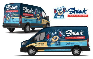 hvac and plumbing truck wrap for Shaw's Heating, Air & Plumbing
