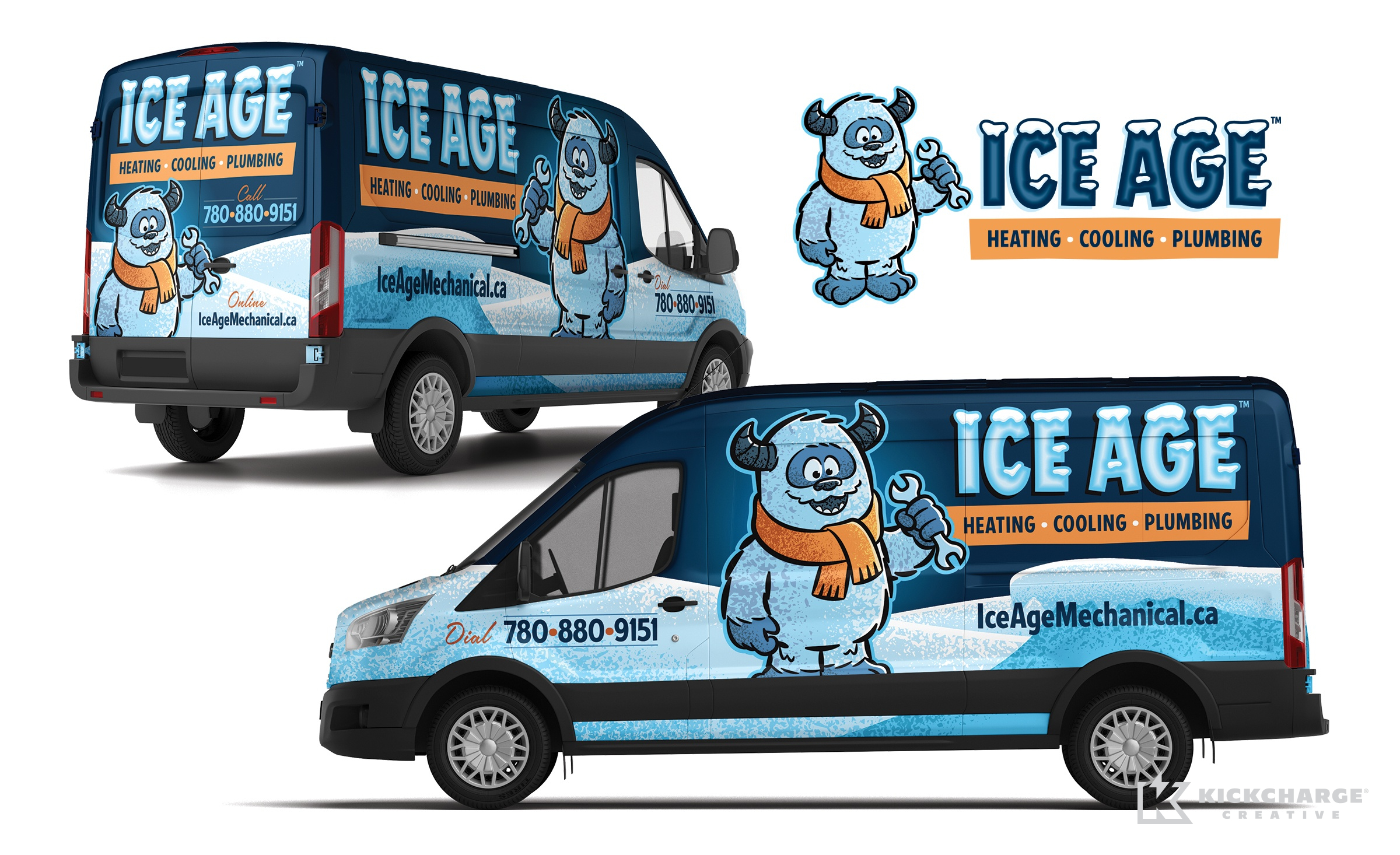 hvac and plumbing truck wrap for Ice Age