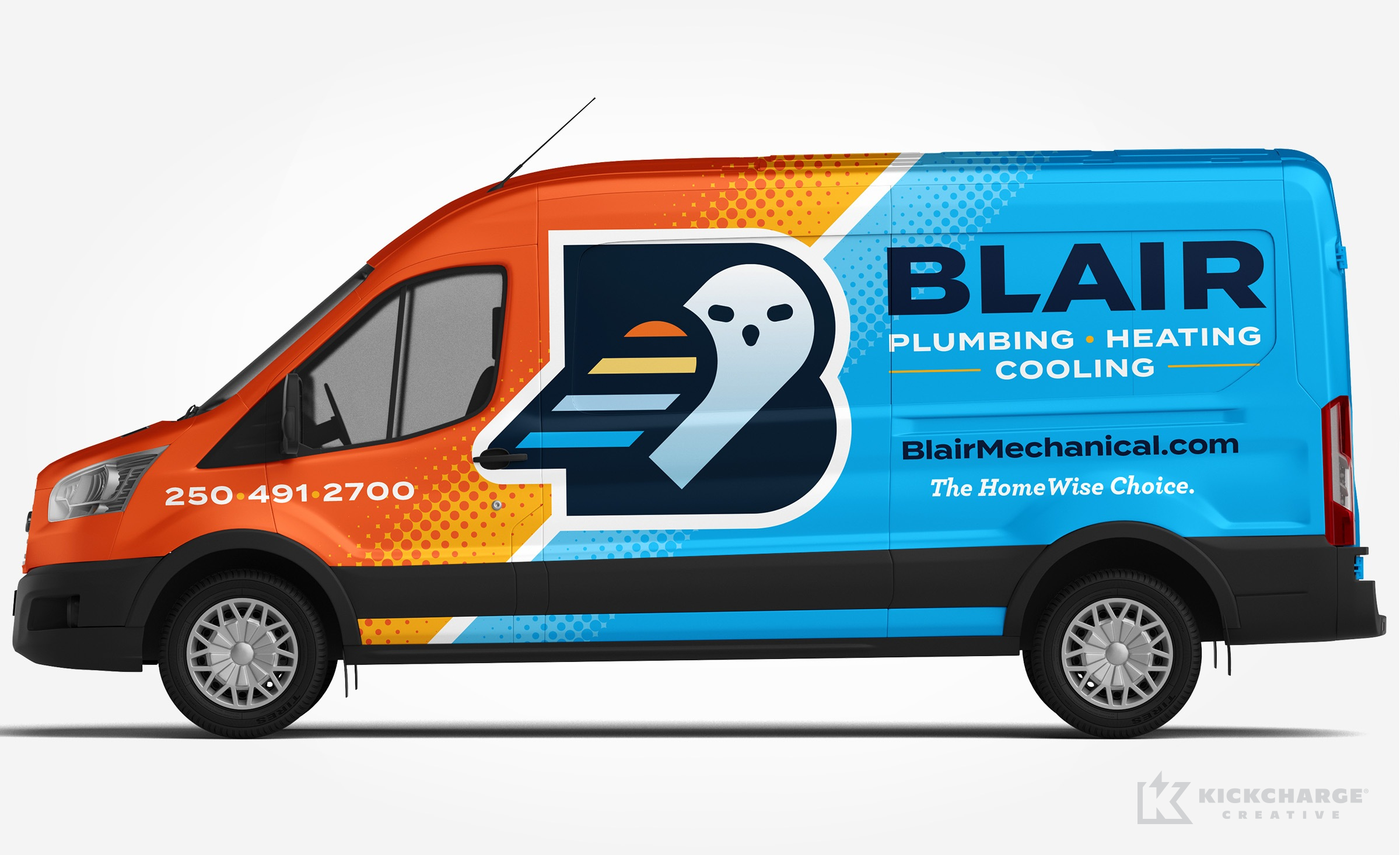 plumbing and hvac truck wrap for Blair