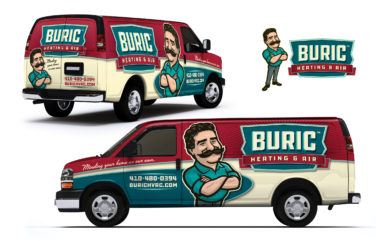 hvac truck wrap for Buric Heating & Air