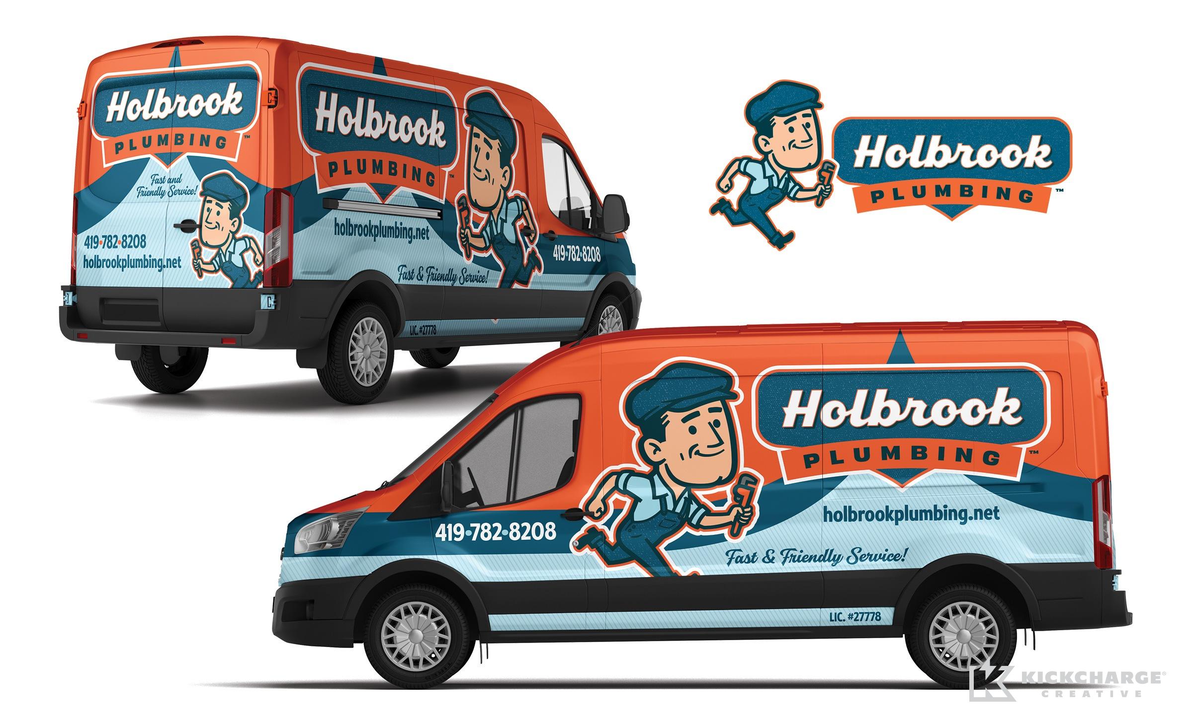 plumbing truck wrap for Holbrook Plumbing