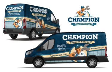 hvac truck wrap for Champion Comfort Experts