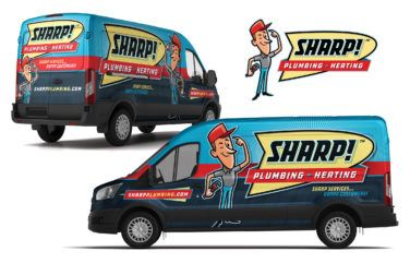 plumbing and hvac truck wrap for Sharp! Plumbing & Heating