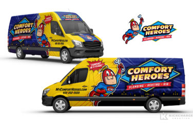 plumbing and hvac truck wrap for Comfort Heroes