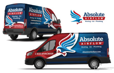 hvac and plumbing truck wrap for Absolute Airflow