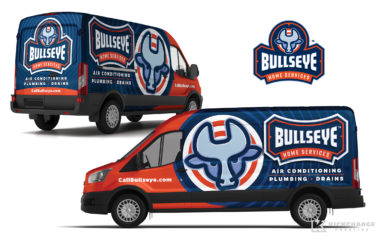 hvac truck wrap for Bullseye Home Services Truck Wrap Design for HVAC
