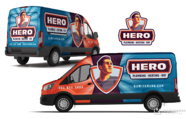 plumbing and hvac truck wrap for Hero Plumbing