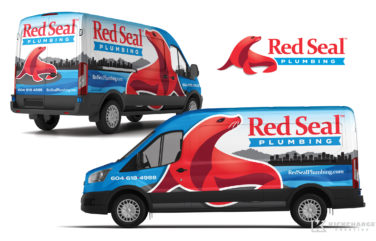 plumbing truck wrap for red seal plumbing