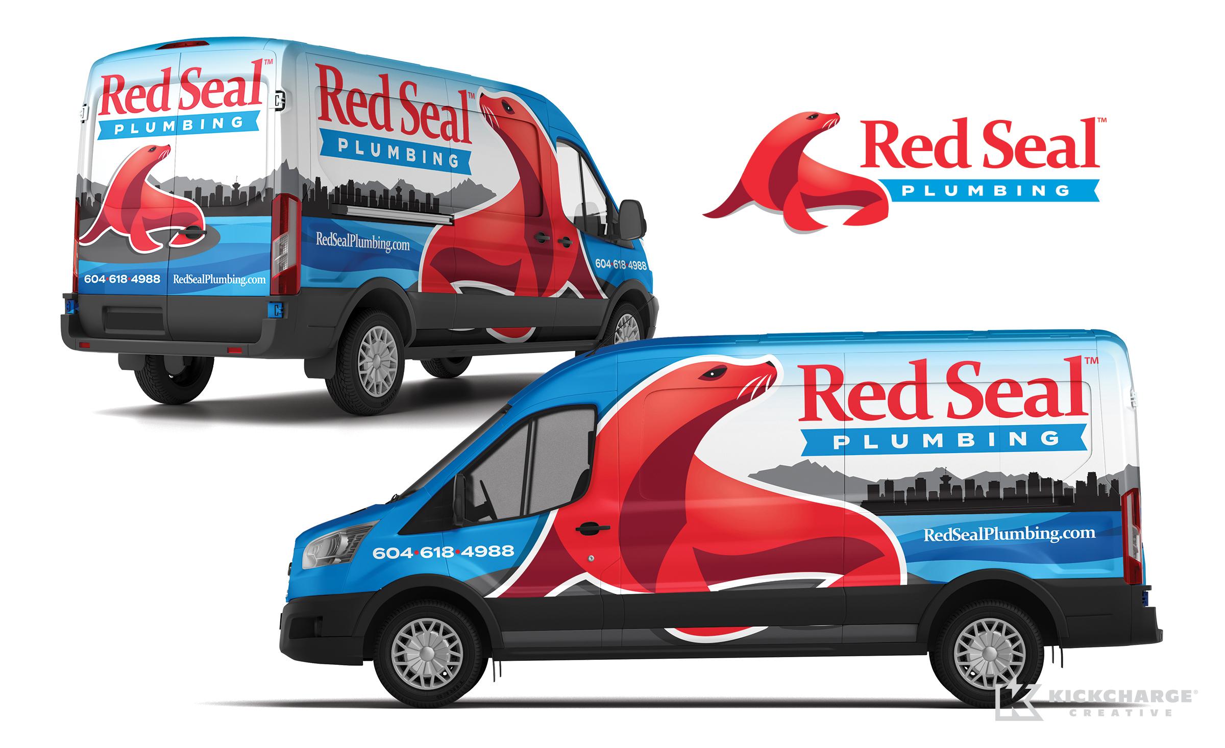 plumbing truck wrap for red seal plumbing