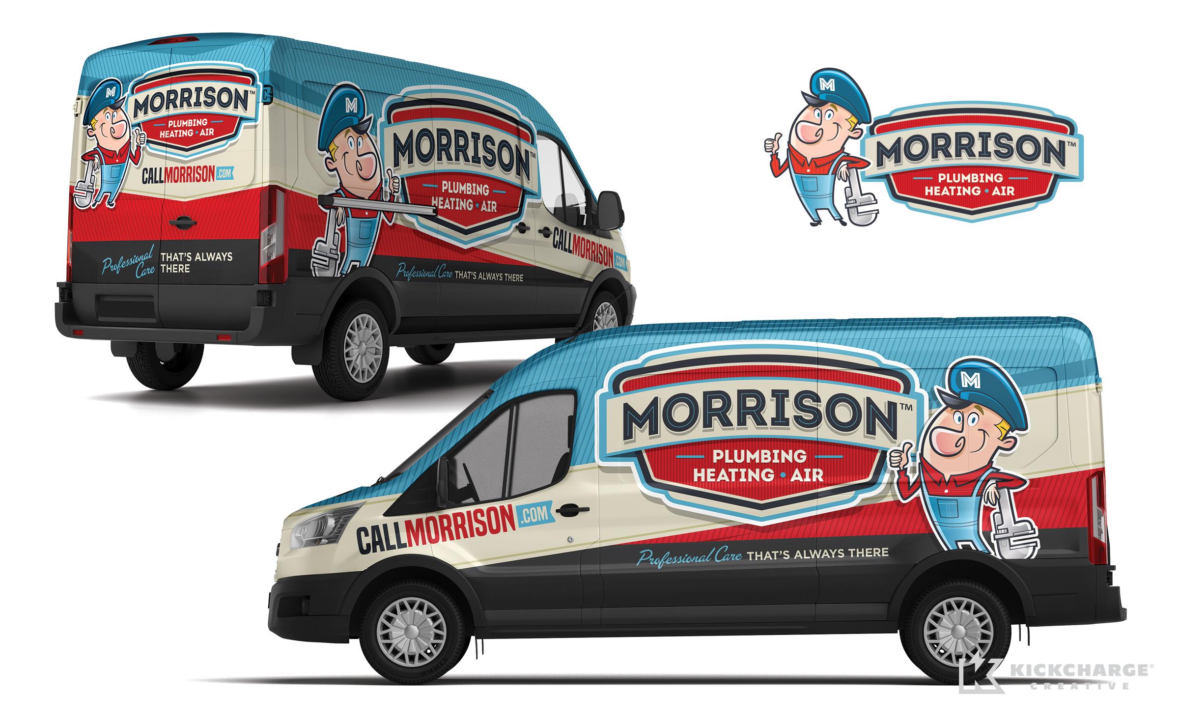 plumbing truck wrap for Morrison Plumbing, Heating & Air
