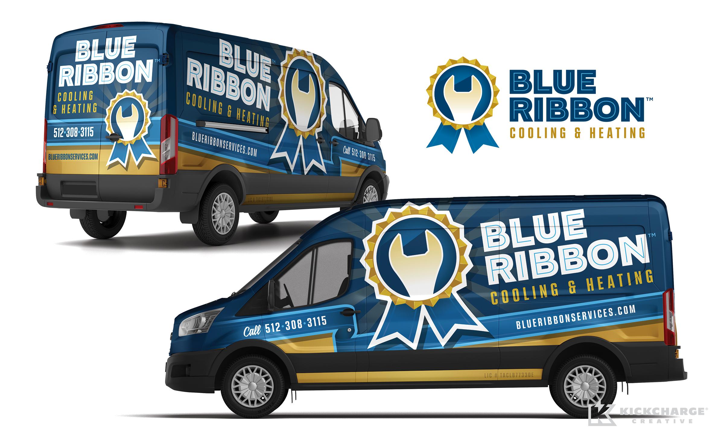 hvac truck wrap for blue ribbon