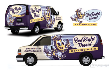 hvac truck wrap for Bee Right There!