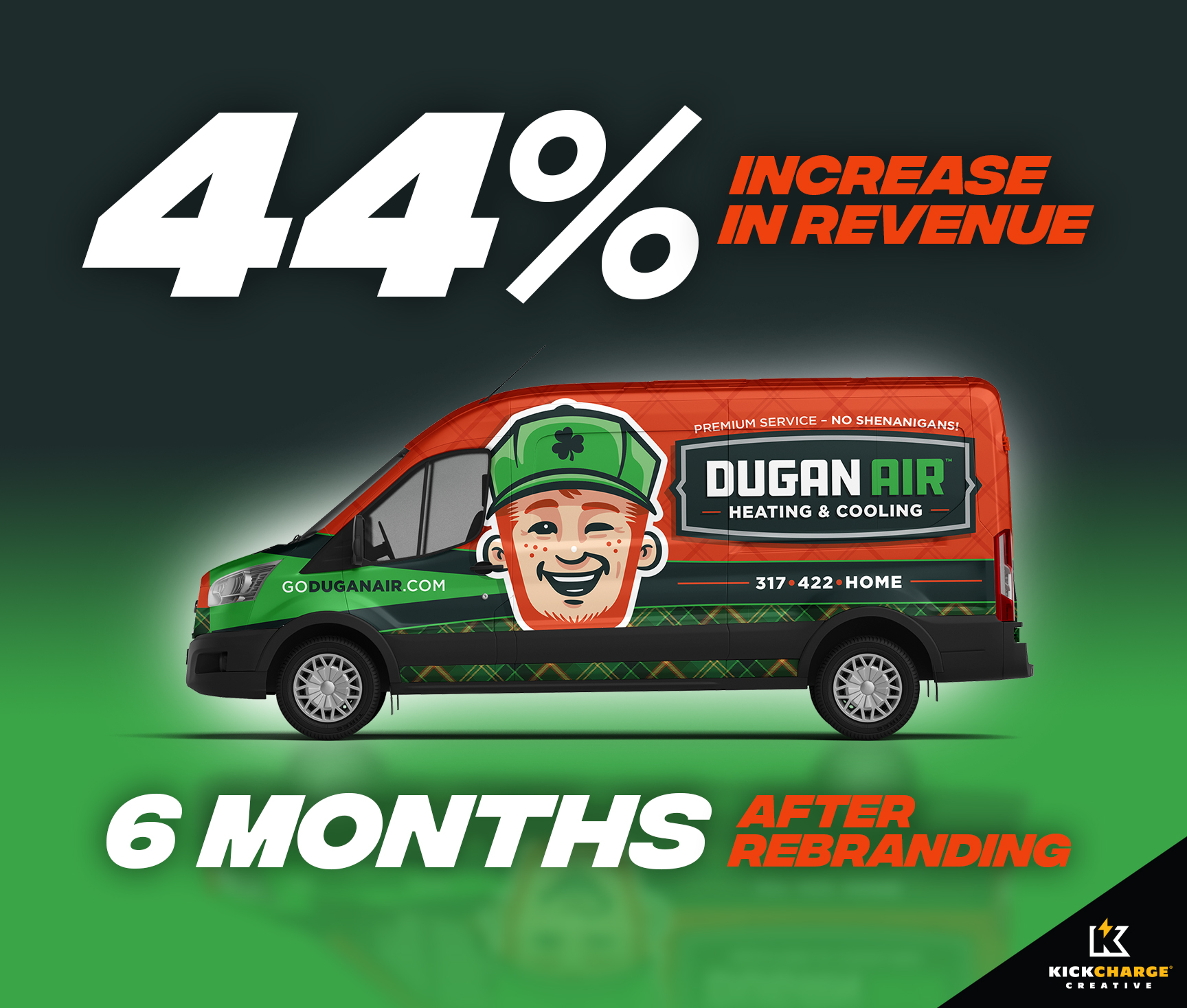Dugan Air hvac truck wrap, best hvac truck, hvac rebranding