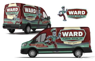 hvac and plumbing truck wrap for Ward Plumbing, Heating & Air