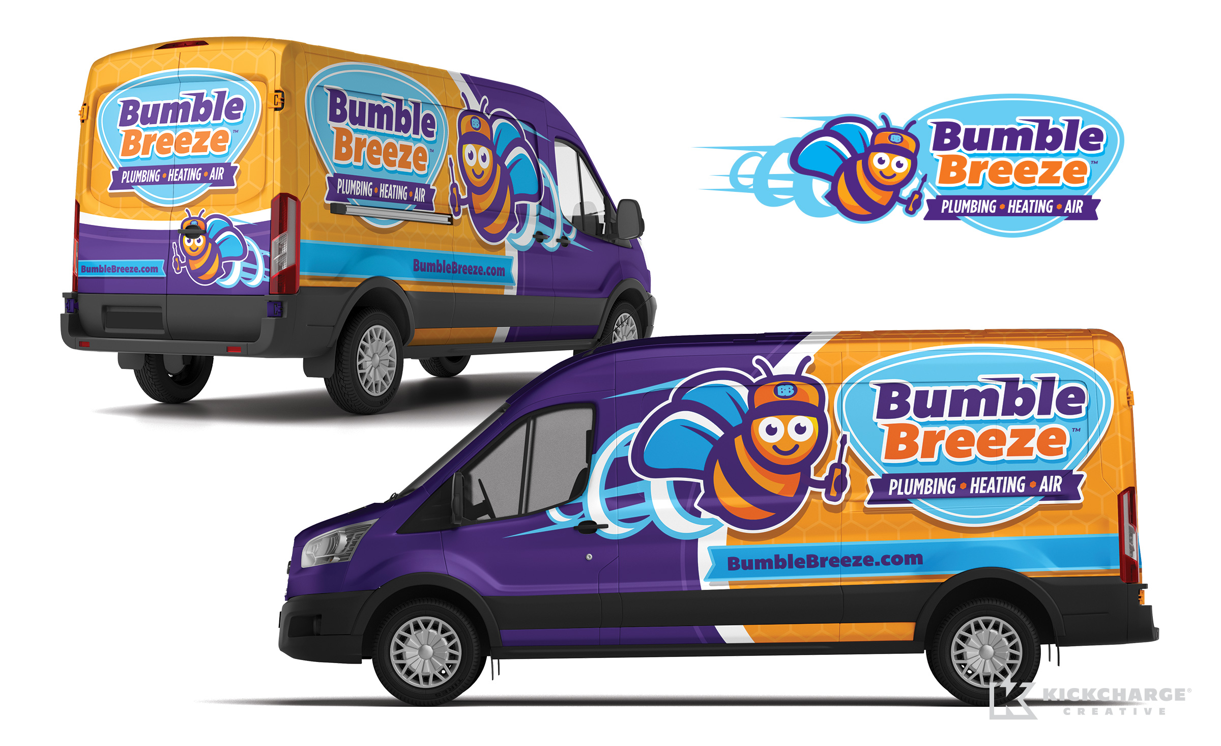 plumbing and hvac truck wrap for Bumble Breeze