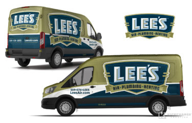 hvac and plumbing truck wrap for Lee's Air, Plumbing & Heating
