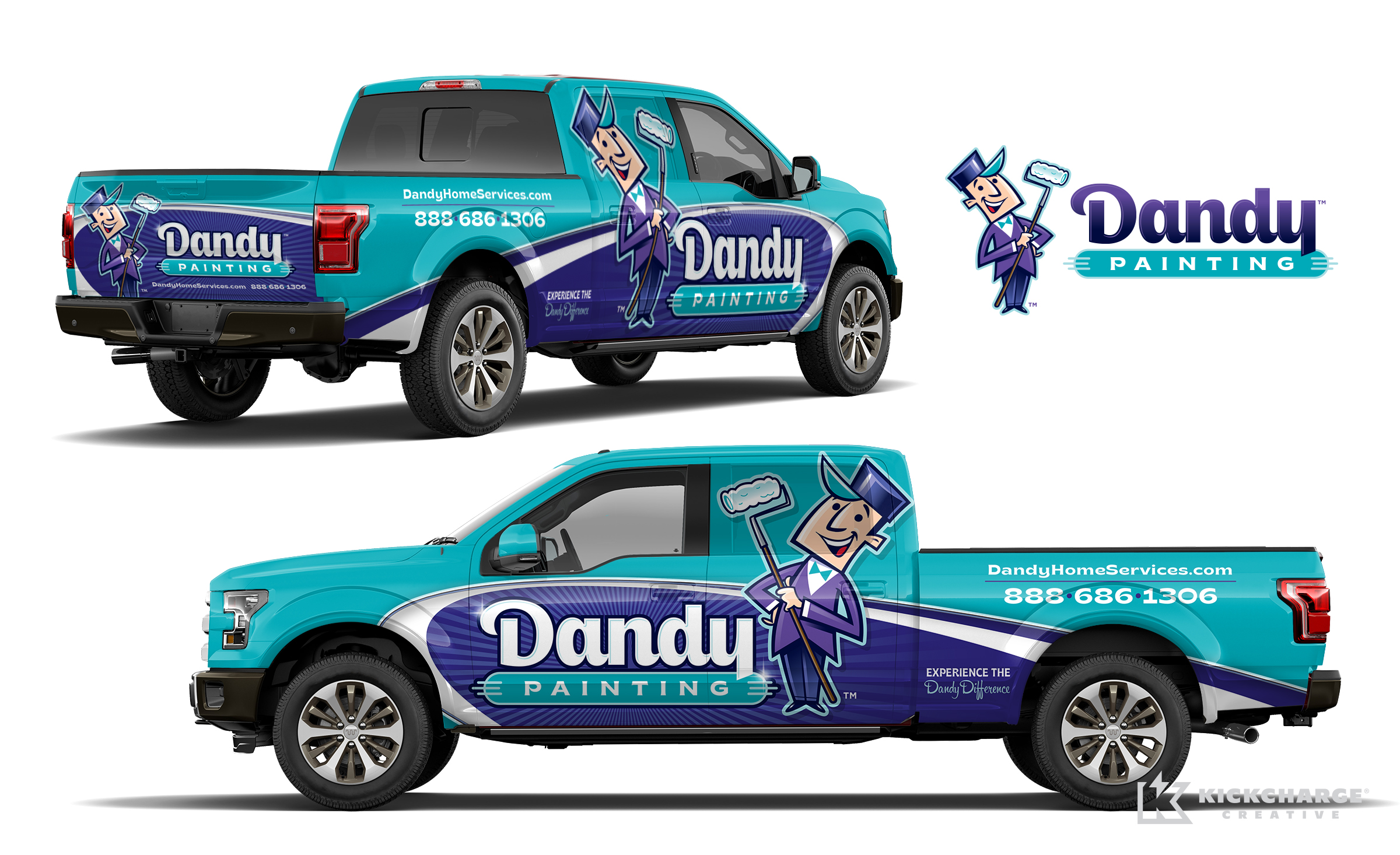 Dandy Painting truck wrap, painting company truck wrap