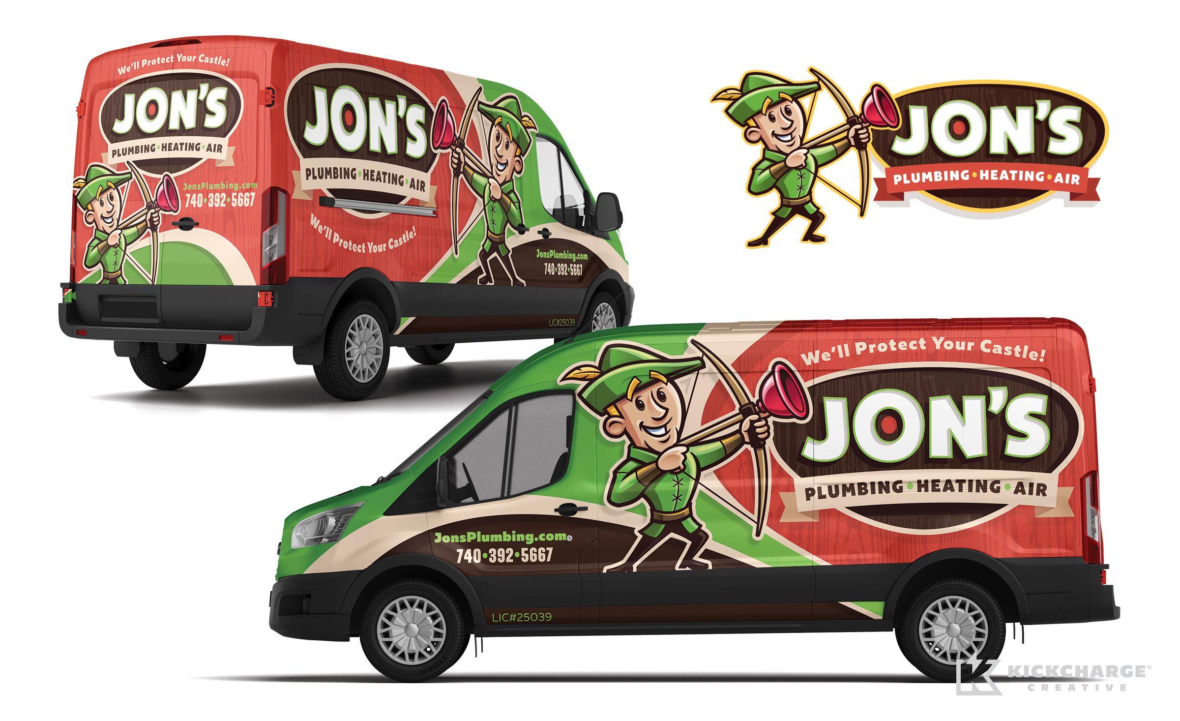hvac and plumbing truck wrap for Jon's Plumbing, Heating & Air