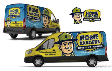 hvac and plumbing truck wrap for Home Rangers
