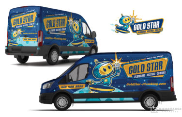hvac and plumbing truck wrap for Gold Star