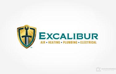 hvac and plumbing logo design for Excalibur